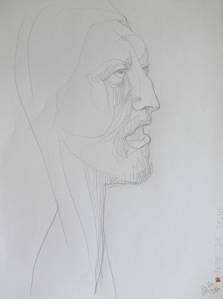 "Pencil – ""Tete de Jesus Christ"" Original Art Drawing – a unique product by VanyssaBijuu on DaWanda"