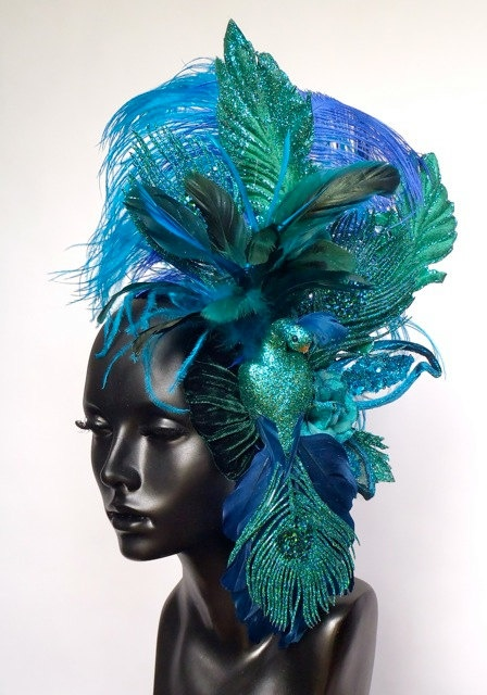 Glitter Peacock Head Piece by MissGDesignsShop on Etsy,