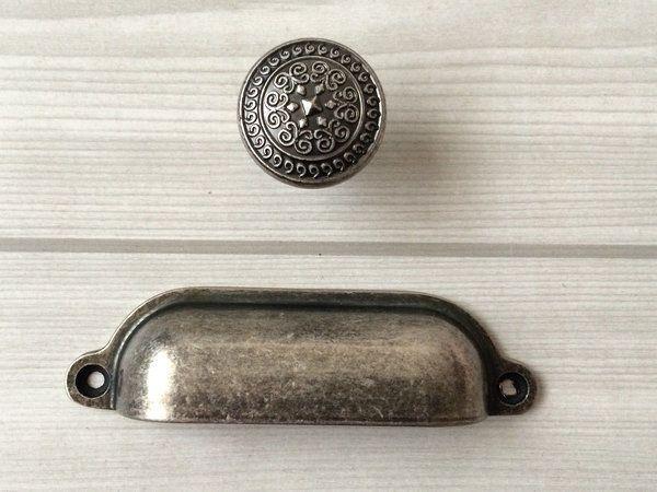 Dresser Knob Bin Cup Drawer Pulls Cabinet Door Knobs Retro Antique Silver Black in Home & Garden, Home Improvement, Building & Hardware | eBay