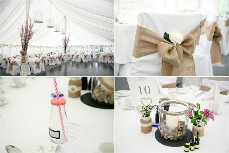 wedding details, hessian bows and pretty flowers at Le Talbooth wedding