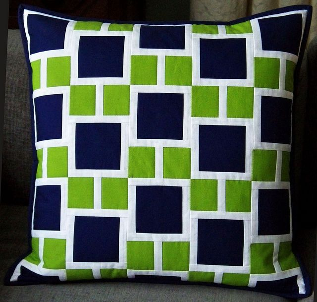 Love the colors and design of this modern pillow by EschHouseQuilts for the Modern Quilted Pillow Swap