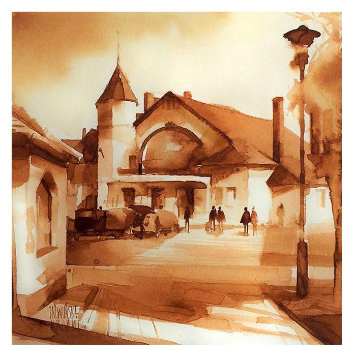 Watercolour 2016/ 20x20 cm/ Dworzec w Kołobrzegu/ paper: Saunders 300g