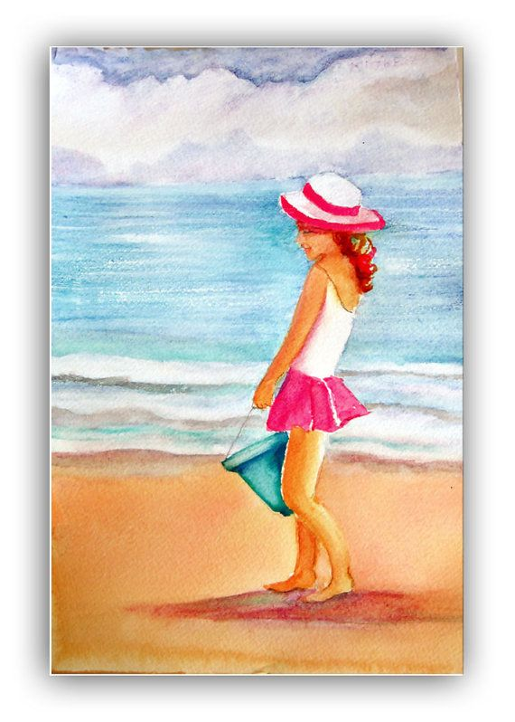 Girl on Beach girl by Ocean watercolor by CalArtistWatercolors