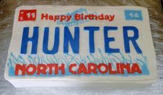 Nc License Plate 16Th Birthday Cake on Cake Central