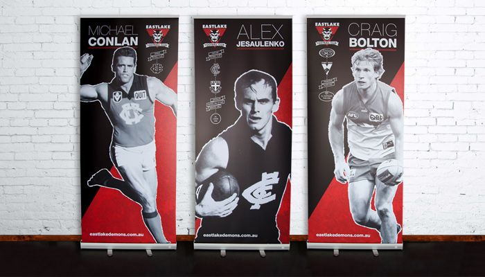 http://www.spectrumgraphics.com.au Eastlake Football Club, function banners, branding material, design, artwork, layout, typesetting, publication, flyer, graphic design, infographics, business cards, contents page, front cover, internal spread, AFL, football legends, football, banner