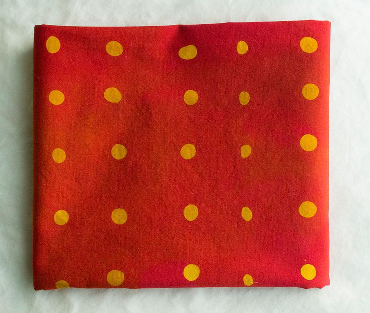 Wasabi Peas hand Dyed and Patterned Cotton Fabric/ Marigold and Red by stitchindye on Etsy