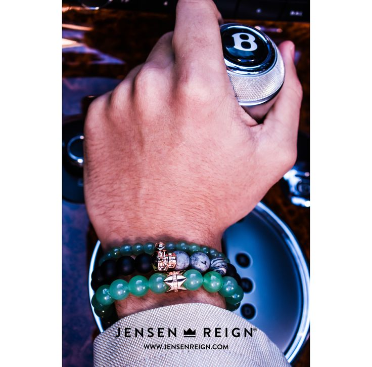 Bracelets by Jensen Reign. Matt Onyx, Grey Jasper and Aventurine featuring solid 925 Silver Skull and Crown finished in 18kt Rose Gold. #jrlife