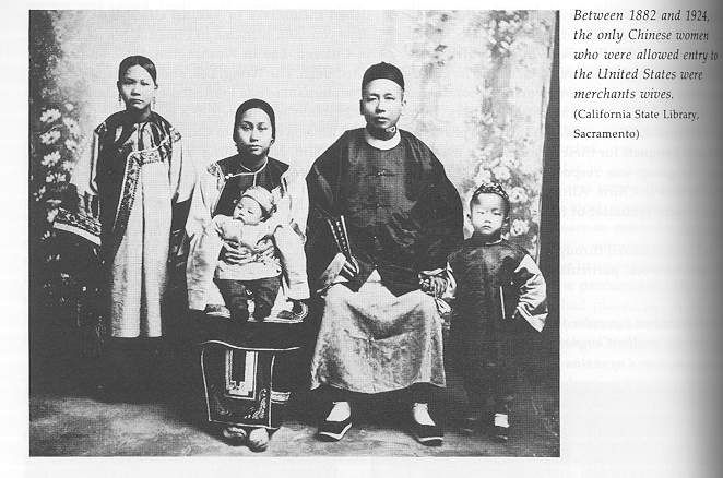 This image is a picture of a Chinese merchant and his family. According to the California State Library of Sacramento, the only Chinese women who were allowed in America were Chinese merchant wives. Between 1882 and 1924, very few Chinese women lived in America for a very long period.