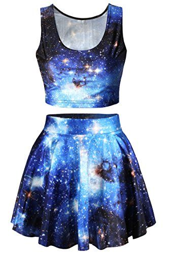 awesome Pink Queen 2 Piece Crop Tank Top Tees and Flare Skirt Set, Blue Galaxy P…