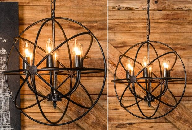 Metal Sphere Chandelier - From Antiquefarmhouse.com - http://www.antiquefarmhouse.com/current-sale-events/warehouse-vintage5/metal-sphere-chandelier.html