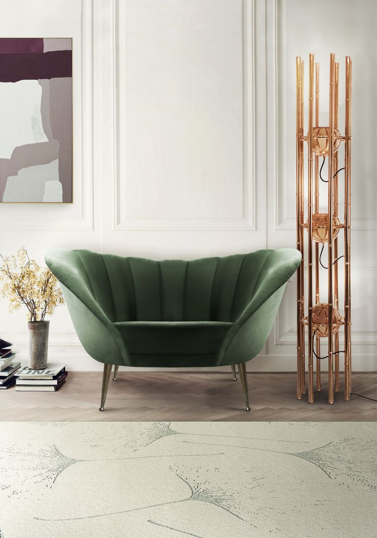 Home design ideas / Home inspirations | During your Spring remodel you may have some troubles choosing the best colors. Try to mix green with copper and see if you like the result. Sofa and Floor Lamp by Brabbu.