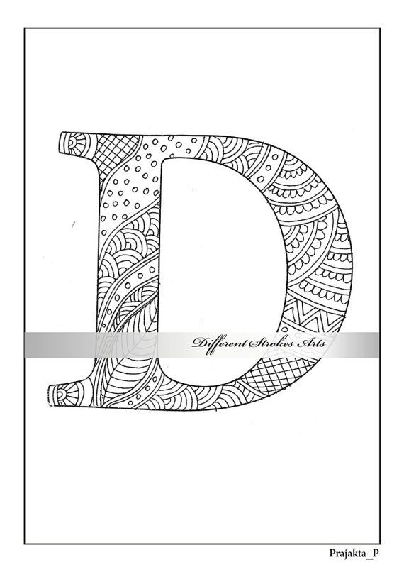 Zentangle Alphabet Coloring Page Letter D To Color For Etsy Alphabet Coloring Pages Alphabet Coloring Coloring Letters