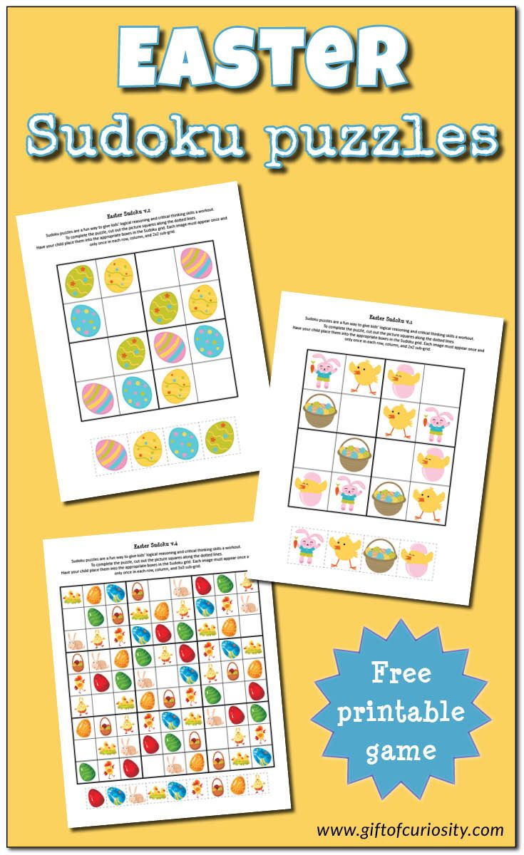Free Easter Sudoku printables that support logic and critical thinking skills for young children. Two different levels of difficulty included. I've gotta try this with the kids! || Gift of Curiosity