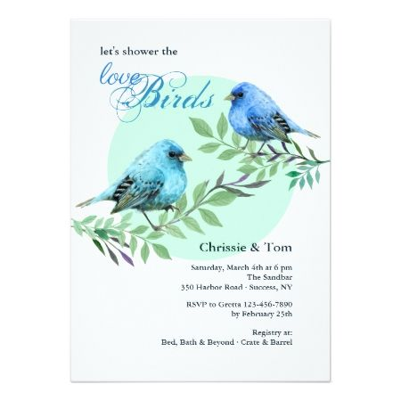 Bluebirds on a Branch Invitation - click/tap to personalize and buy