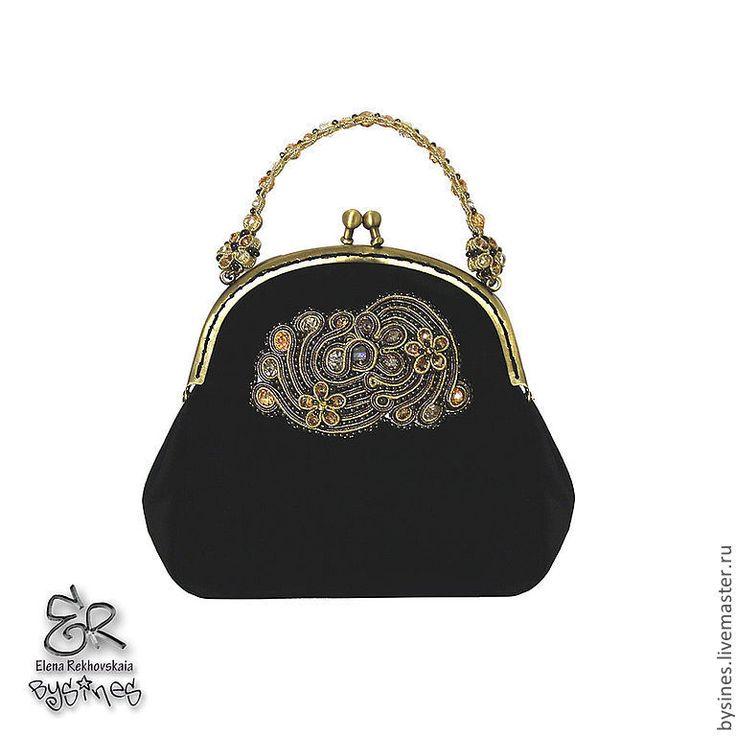 """Купить Сумка-клатч """"BlackGold"""" - абстрактный, маленькая черная сумка, Бархатная сумка"""