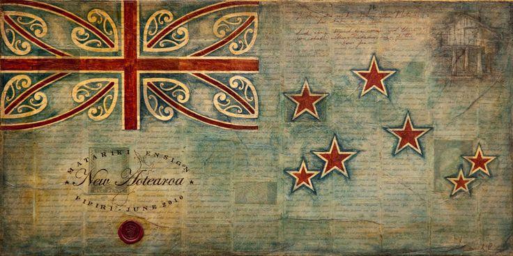 Title: Matariki Ensign Size: 30cm x 60cm Medium: water colour, ink, graphite, shellac, paper on board Date: 2010  (Maori art & design)