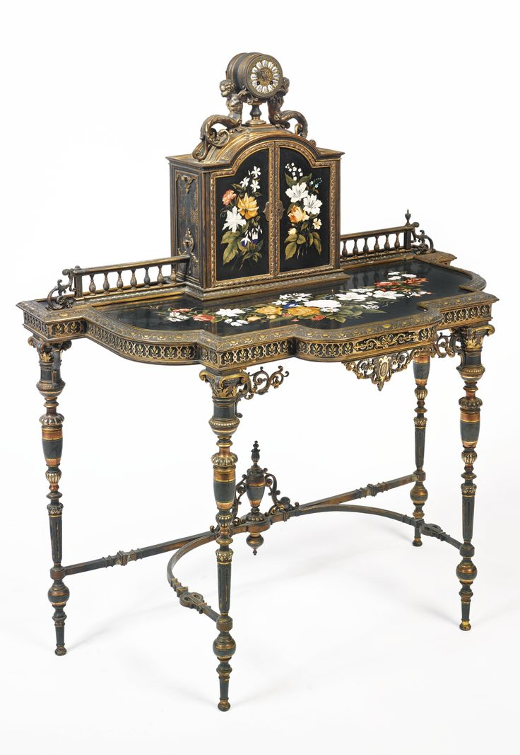 A silvered, gilt and copper patinated bronze and pietra dura decorated ''  Bonheur du jour '' (cabinet ) England, century - The upper structure  centered by a ... - 606 Best ART-FURNITURE Images On Pinterest Chairs, Antiques And