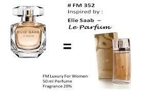 Parfum FM 352 memiliki aroma lembut menawan dengan manisnya melati, orange blossom, nilam, dan madu. Menarik anda lebih dalam dan sangat menggoda. Aroma sempurna untuk kulit Anda. Sangat feminin nice dan segar, Aroma bunga bunga, madu dan gardenia. Memiliki aroma parfum Elie Saab Le Parfum. Pasti Anda suka.. mau coba ? hub Jojok-parfumFM di 082140635546 pin BB 2988028D. atau kunjungi http://tokoparfumaslifm.com/parfum-wanita-fm-352-aroma-mewah-lembut-menawan/