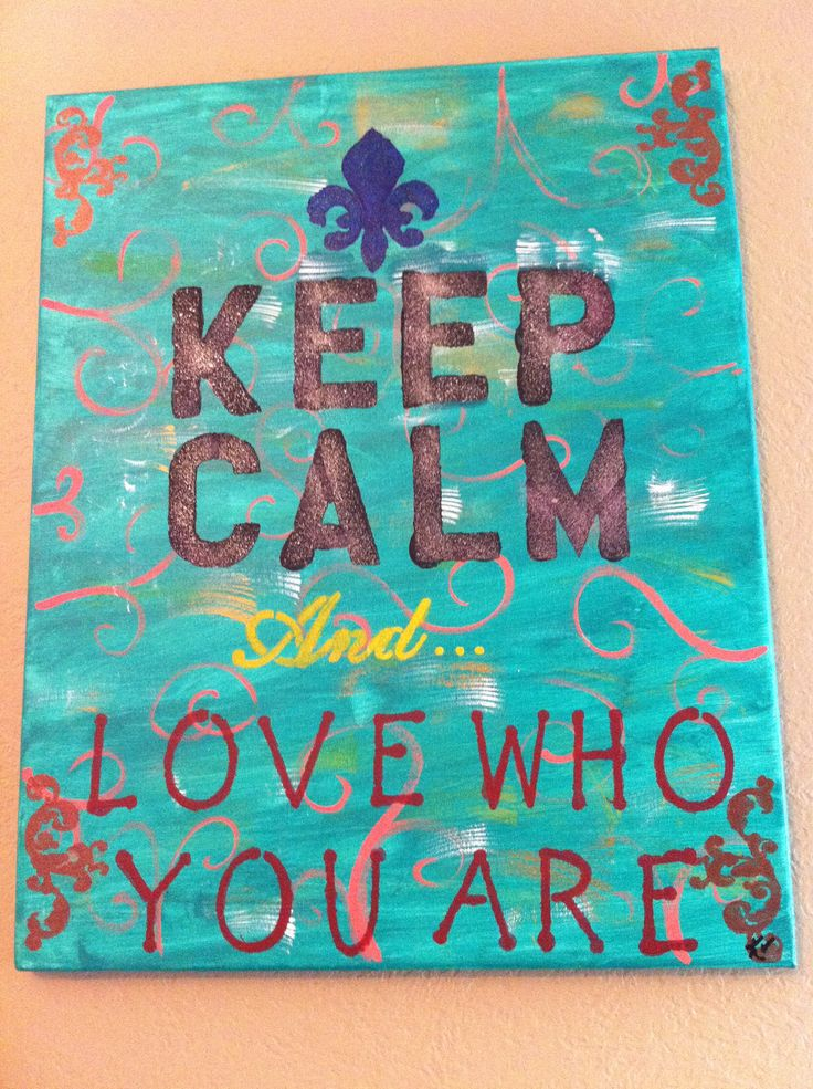 Keep calm quote painted canvas @30