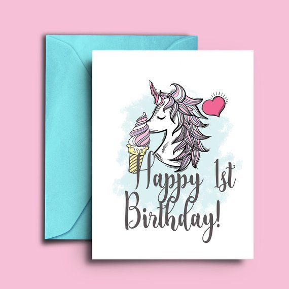 Gift This Unicorn Birthday Card To The Little Special One To Mark Her 1st Year Anniv Birthday Greetings For Kids Birthday Card Printable Unicorn Birthday Cards