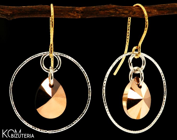 DIAMOND SHINE - gold drop - Swarovski and silver - open earrings. Unique earrings with diamond silver rings and Swarovski drop crystals in a luxurious, shiny rose gold color.  This type of silver beautifully catches the light and shines like a diamond, thanks to its unique cutting.