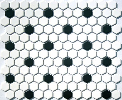 Lyric 1 X Satin Glazed Porcelain Mosaic Hex Tile In Cloud White Coal Black