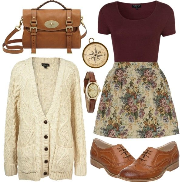 A fashion look from April 2013 featuring burgundy crop top, floral print skirt e balmoral oxfords. Browse and shop related looks.