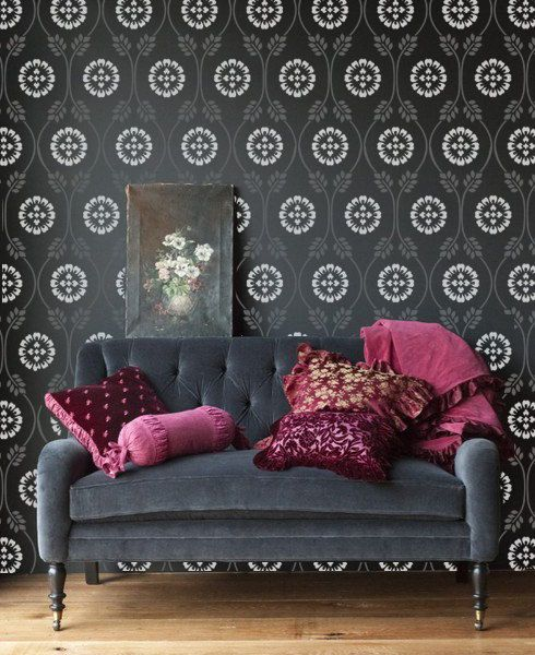 Delightful Fabulous Helen Designer Pattern Allover Stencil For Walls By Bluedoor With Garden  Stencils For Walls