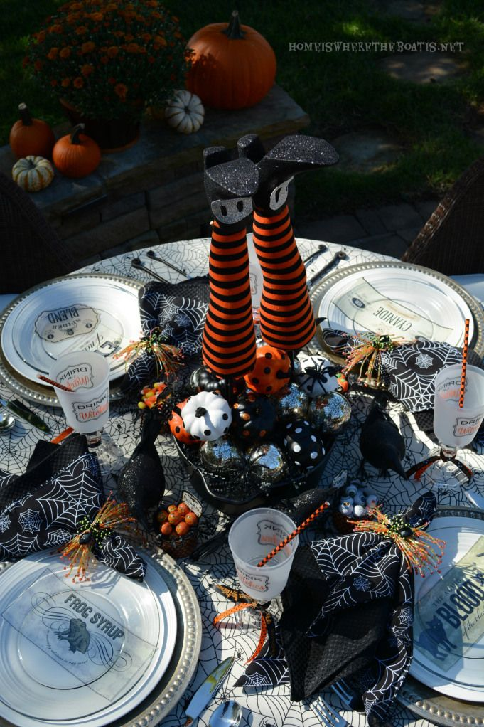 halloween tablescape witches potion table - Halloween Table Setting