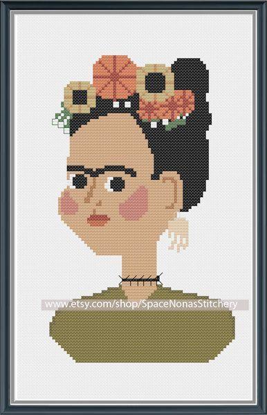 0 point de croix frida kahlo - cross stitch