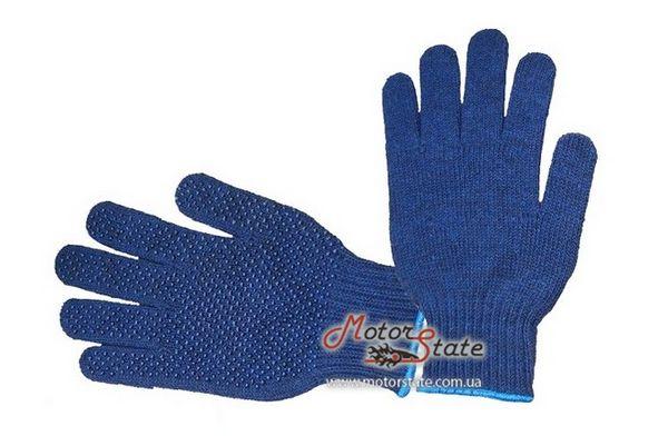 Intertool SP-0104 Перчатки синтетические 9-L с покрытием резиновой точки синие