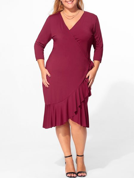 Buy V Neck Flounce Bowknot Plain Plus Size Bodycon Dress online with cheap prices and discover fashion Plus Size Bodycon Dresses at Fashionmia.com.