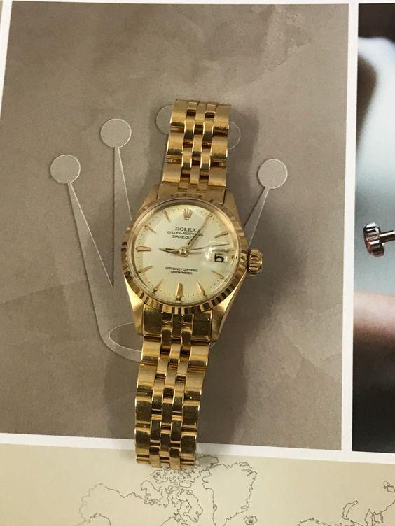 Rolex Vintage Datejust Ladies in 18 kt Gold on Jubilee. #rolexwatch #women #womensfashion #rolexofficial #womenwhowork #girlpower #watches #fashion #fashionbloggers