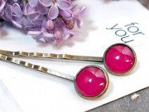 Cabochon-Haarklemmen leuchtend pink