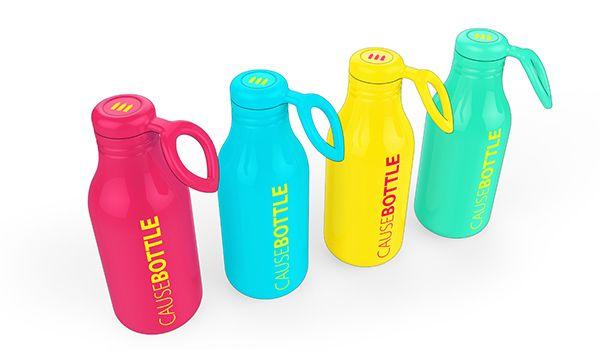 CauseBottle es una botella de agua de acero inoxidable para repensar en su consumo diario. Su característica de diseño es, un indicador gráfico impreso en la tapa que muestra cuántas botellas de agua desechables tradicionales igualan el volumen de plástico usado. Es un recordatorio simple pero altamente eficaz para ser conscientes de la huella-carbono en el planeta!  causebottle_02
