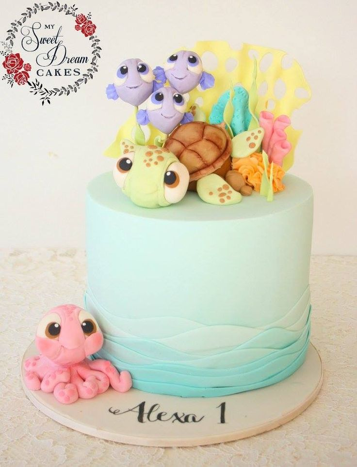 Cute under the sea first birthday cake by My Sweet Dream Cakes Perth