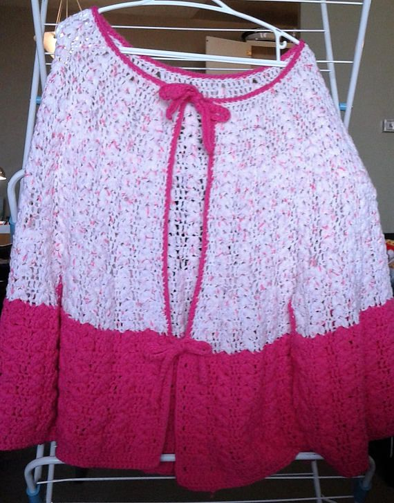 Crochet pink confetti mid-length cape