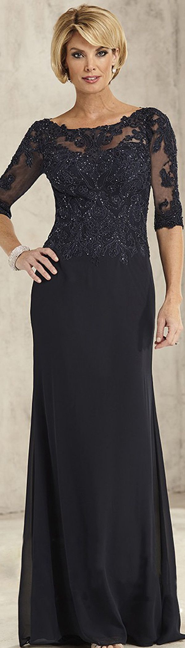 Wonderful Chiffon Bateau Neckline Sheath Mother Of The Bride Dresses With Beaded Lace Appliques