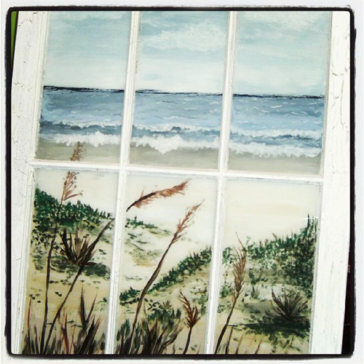 Beach scene painted window - Doodle's Dreams