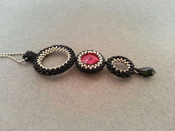 Black Red Beaded Rivoli Swarovski Pendant - Delica- Beadwork
