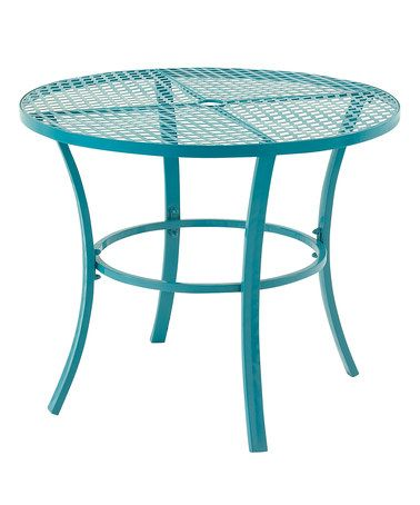 Another great find on #zulily! Blue Metal Round Outdoor Table #zulilyfinds