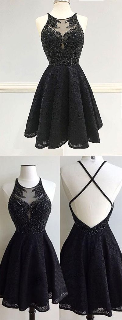Cheap Homecoming Dress for Girls,High Fashion A-Line Round Neck Black Lace Short Homecoming Dress,Sweet 16 Dress,Graduation Dress,Homecoming Dress,GF56