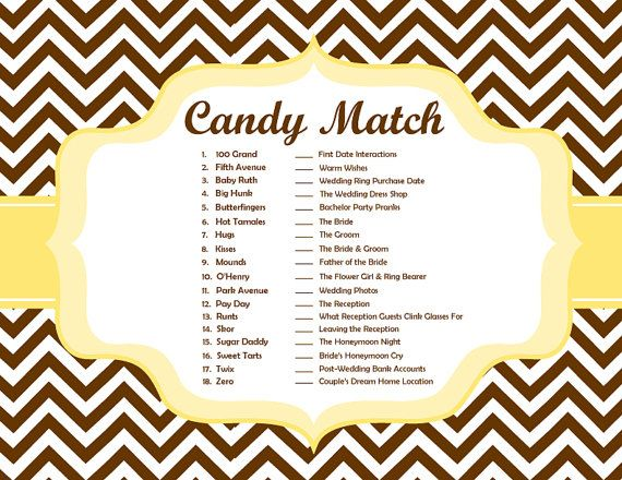 Candy Match Bridal Shower Game Colors by DestinationInvite on Etsy