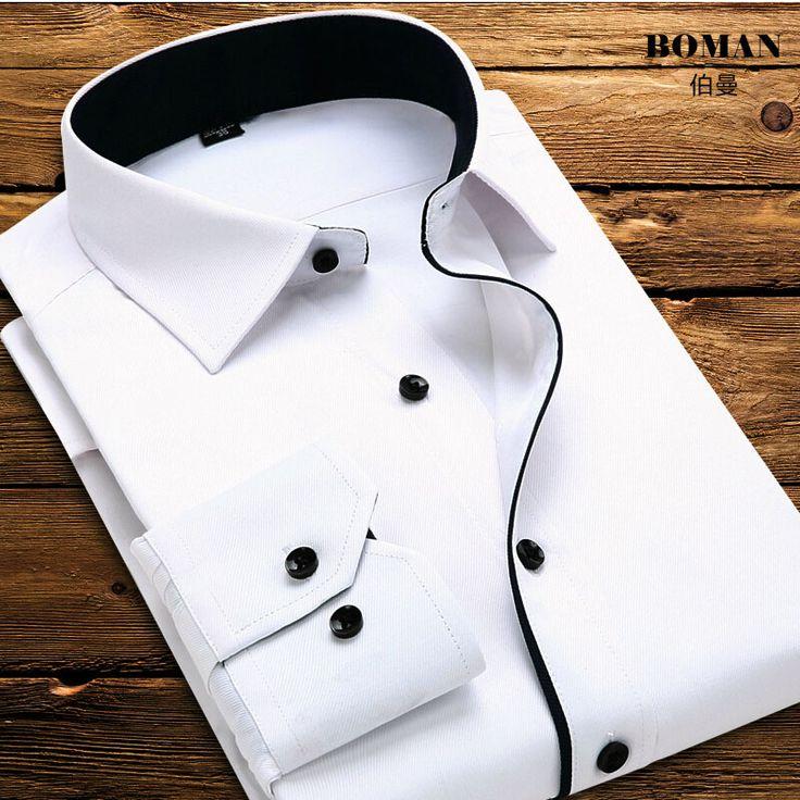 Goedkope Hot 2016 Mannen Shirt Wit Lange Mouw Formele Zakelijke Shirt voor…
