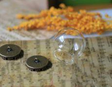 1set Pandantiv glob sticla si capac bronz 25x24mm DV0013