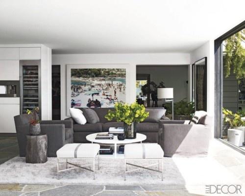Courteney Cox HomeLiving Rooms, Elle Decor, Living Spaces, Livingroom, Interiors Design, Grey, Elledecor, House, Courtney Cox