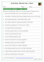 Die Simple Present Übungen mit Lösungen zum Übersetzen üben für die 5. Klasse helfen Ihren Schülern dabei, das Übersetzen von Deutsch auf Englisch zu üben.Für Sie als Lehrer bietet es eine gute Möglichkeit, den Wortschatz Ihrer Schüler zu überprüfen. Die Einteilung in drei Schwierigkeitsstufen:sehr kurze Sätze mit einfachen Vokabeln und leichtem Satzbauetwas längere Sätze mit etwas schwierigeren Vokabeln und Ort- / Zeitangaben / Häufigkeitsadverbienlange Sätze mit Präpositionen ...
