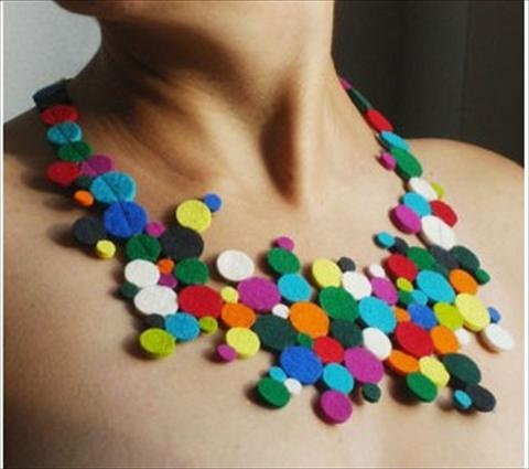 A felt necklace. Very colorful! And Earth-friendly.