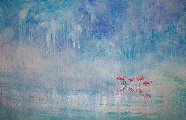 'flamingo fling' dimensions and price on request african.artist@gmail.com