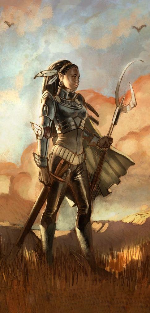 Elfa; africana; adulta; pelo negro y trenzado; guerrera.